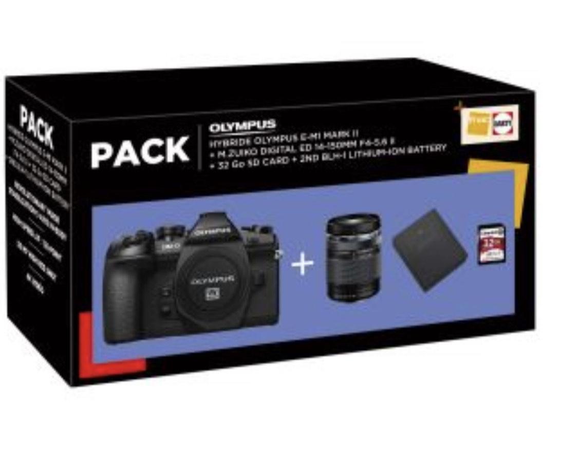 Appareil Photo Olympus E-M1 Mark II + M Zuiko Digital 14-150 mm f/4-5.6 II + Carte SD 32Go + 2 batteries BLH-1 (+150€ sur compte fidélité)