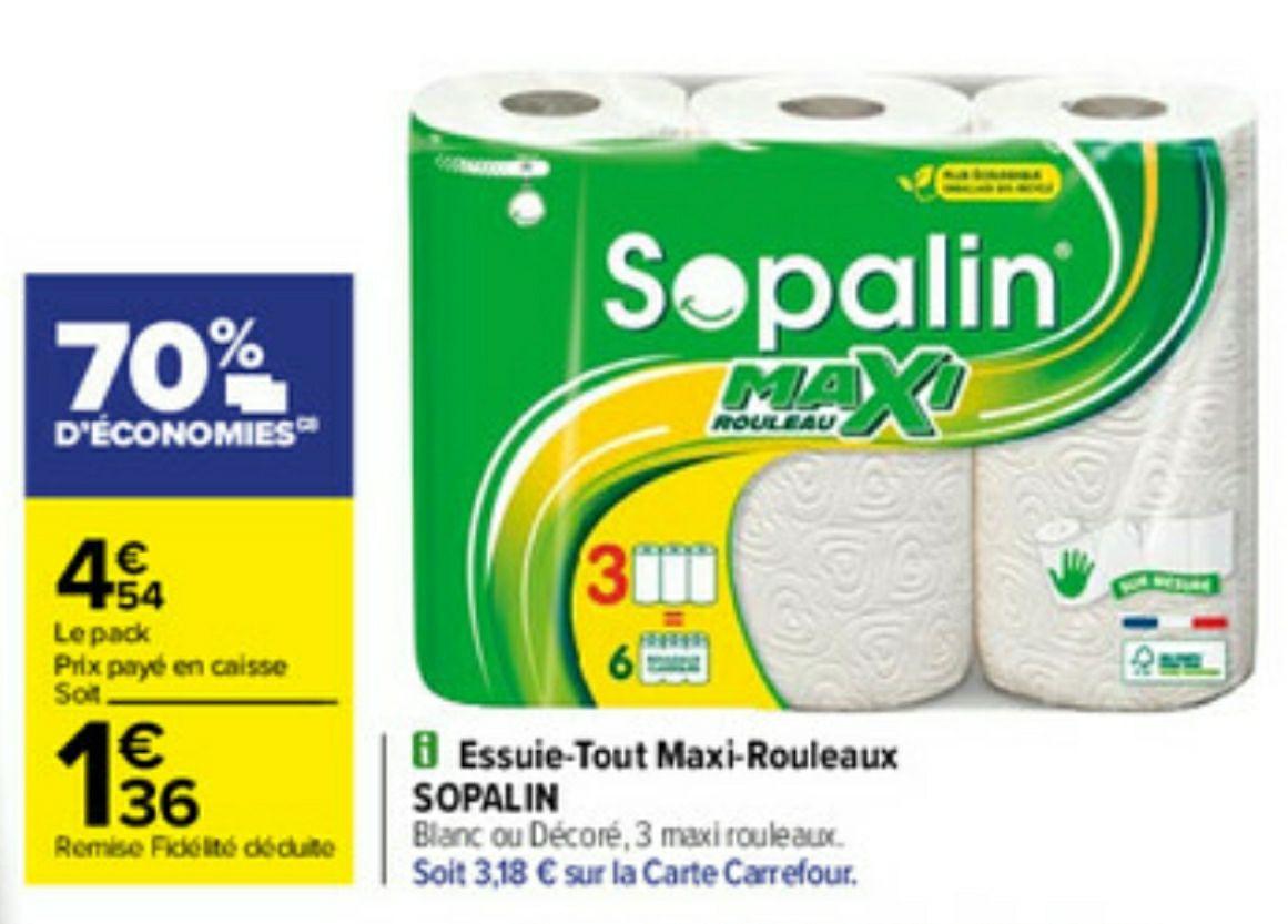 Lot de 3 rouleaux sopalin Maxi (Via 3.18€ sur la carte fidélité)