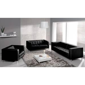 REEF Canapé 3 places + canapé 2 places + fauteuil, simili, noir