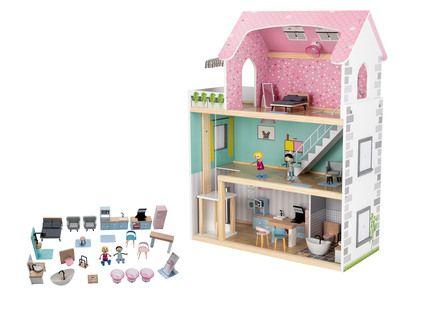 Maison de poupée en bois + 2 poupées + 31 Objets d'ameublement