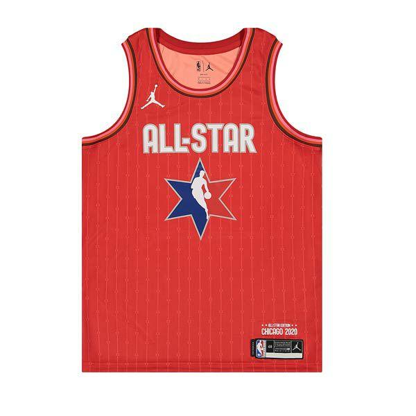 Sélection de maillots de basket Swingman All Star 2020 - Ex : Jordan NBA Swingman Jersey ASW M Antetokounmpo Red 20
