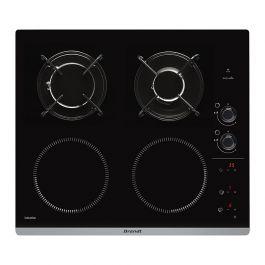 Table de cuisson mixte gaz et induction Brandt BPI 6413 BM - 4 foyers, Noir