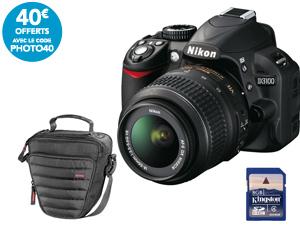 Pack Reflex Nikon D3100 + Objectif 18-55 mm VR f/3.5-5.6G + Sacoche Colt Syscase + SD 8 Go Kingston