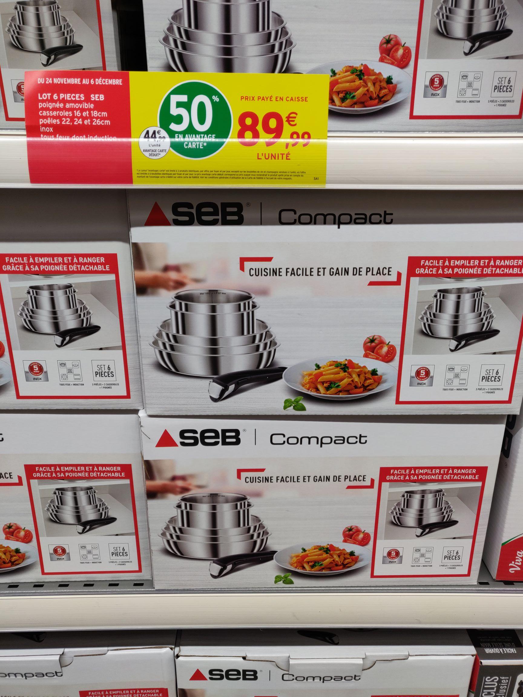 Batterie de cuisine Seb Compact en inox - 6 Pièces, Tous feux + Induction (Via 45€ sur Carte fidélité) - Bresson (38)