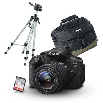 Appareil photo numérique Canon EOS 700D + Objectif 18-55 IS + Sacoche + carte Sandisk Ultra SDHC 8Go + Trépied