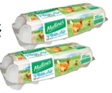 Lot de 2 boîtes de 12 œufs Matines Plein air - 2x12