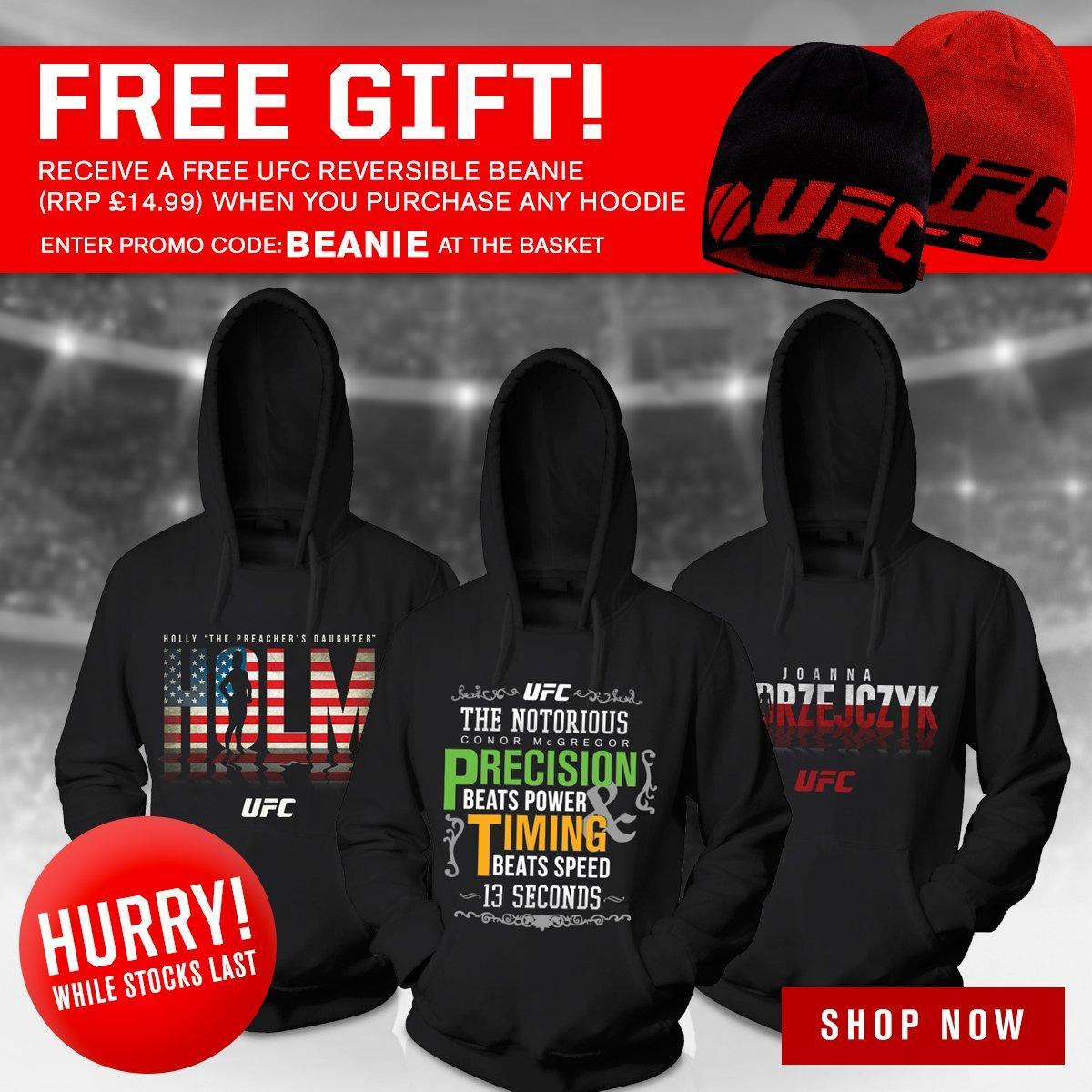 Bonnet UFC offert pour l'achat d'un sweat à capuche