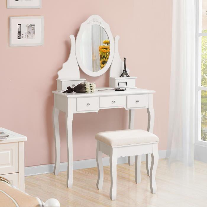 Coiffeuse avec miroir + 5 tiroirs + tabouret Songmics - 80 x 40 x 140 cm (Vendeur tiers)
