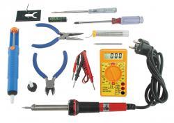 Set d'outils de soudure - 10 pièces (Tournevis et pinces, fer à souder, pompe à dessouder, multimètre)
