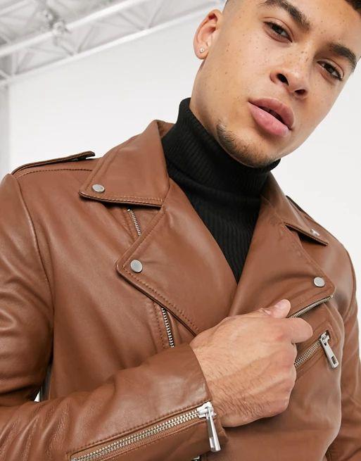 Blouson en cuir Asos Design - Tailles au choix