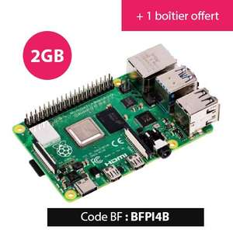 Carte de développement Rasberry Pi 4B (2 Go) + Boitier