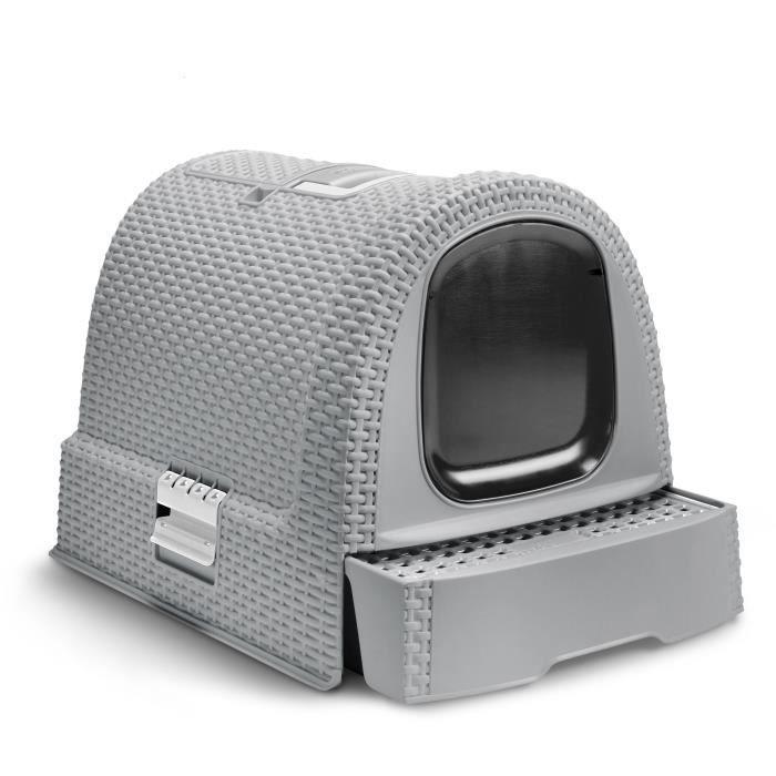 Maison de toilette pour chat Curver - 51,5 x 38,5 x 40 cm, Aspect rotin