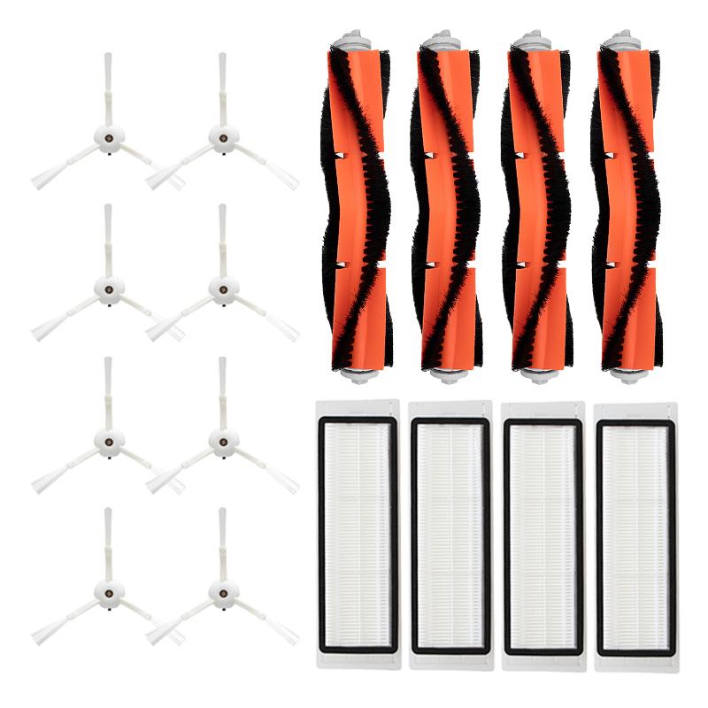 Lot de 16 pièces de rechange pour Aspirateur robot Roborock - 8 brosses latérales + 4 brosses centrales + 4 filtres HEPA