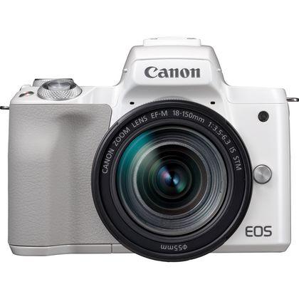 Appareil photo numérique hybride Canon EOS M50 (Blanc) + Objectif EF-M 18-150mm IS STM (Argent)