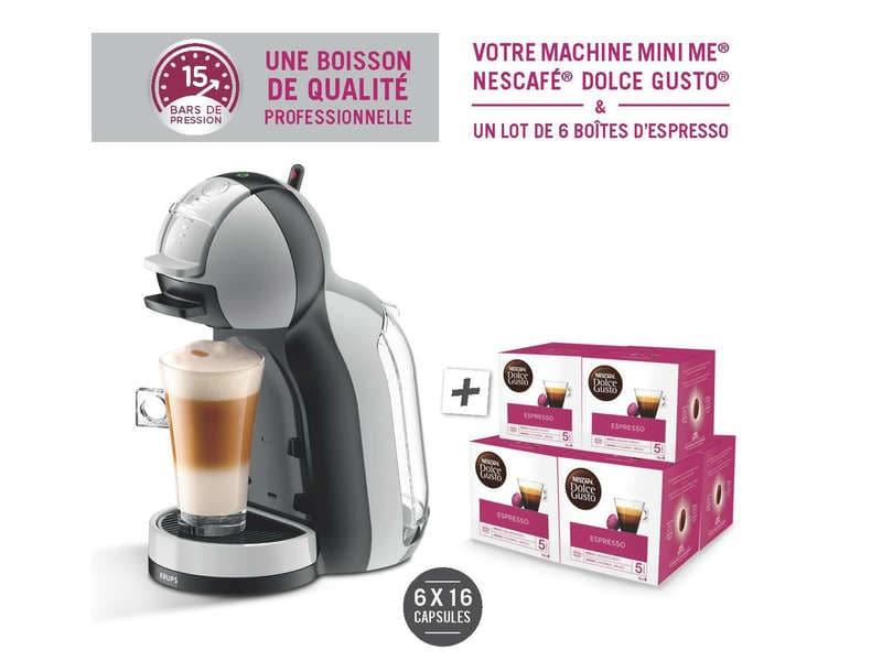 Pack machine à capsules Krups Mini Me YY4128FD + 6 boîtes de 16 capsules de café Nescafé Dolce Gusto