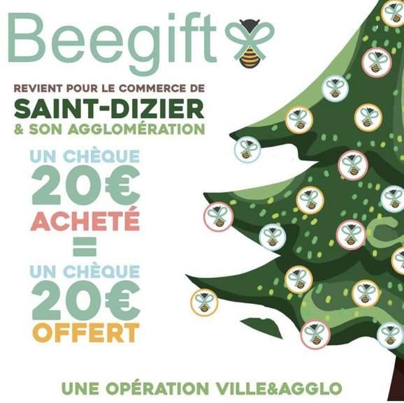 20€ offert pour 20€ de chèque cadeau beegift valable parmi une sélection de 160 enseignes (Max 20€) - Saint-Dizier (52), Verdun (55)