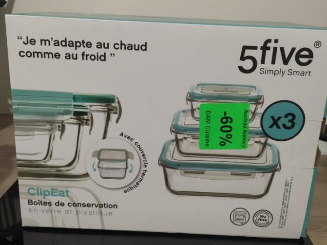Lot de 3 boites de conservation en verre 5five - Épagny (74)