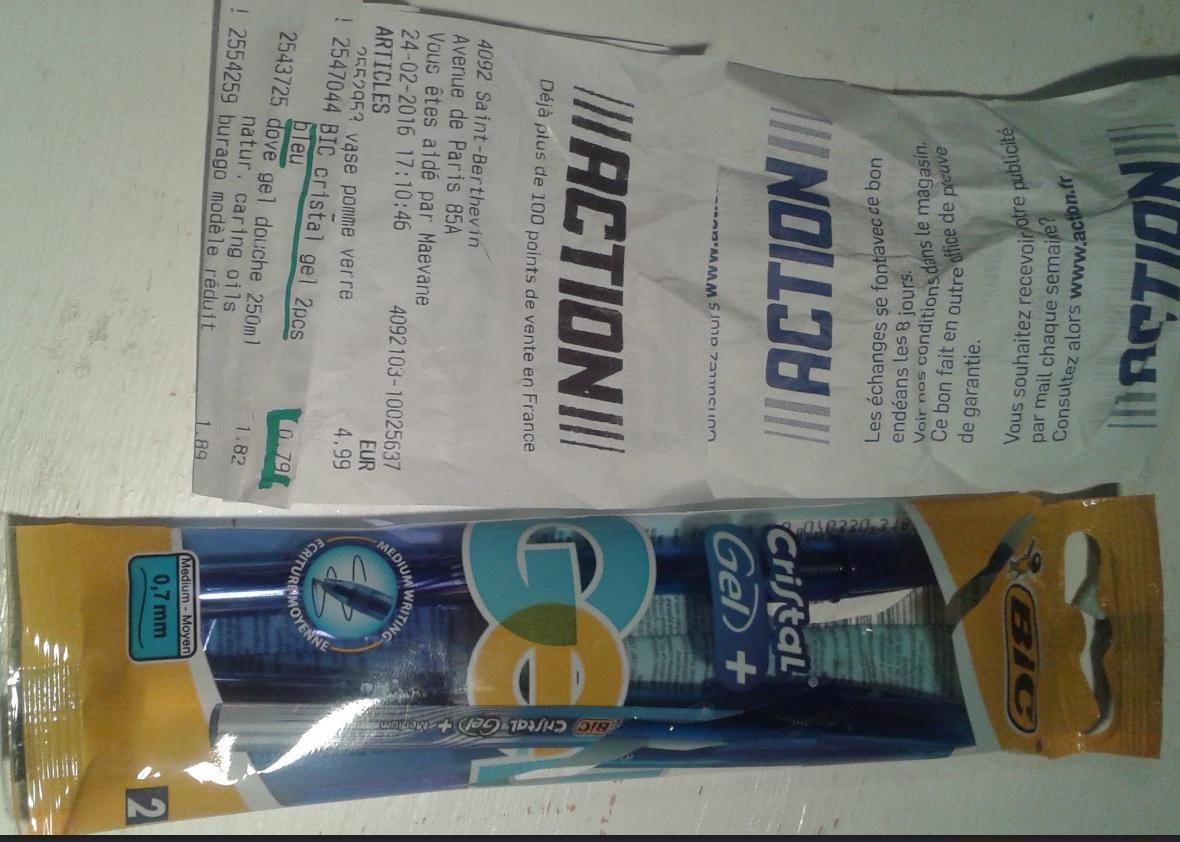 Lot de 2 stylos Bic Bleus Cristal Gel 0.7mm