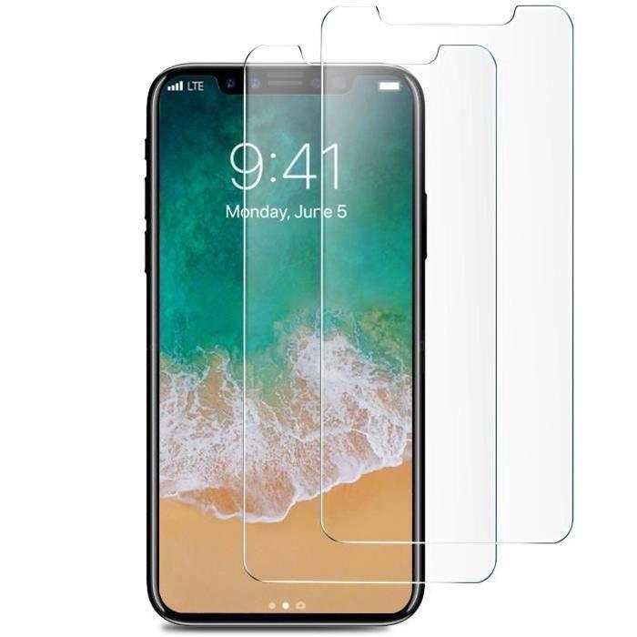 Lot de 2 Films en verres trempés pour Smartphones Apple iPhone X (Vendeur Tiers)