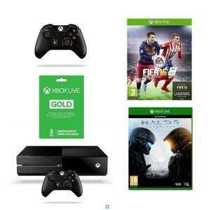 Pack Xbox One 1 To + FIFA 16 + Halo 5 Guardians + 2ème Manette + Abonnement Live Gold 3 mois