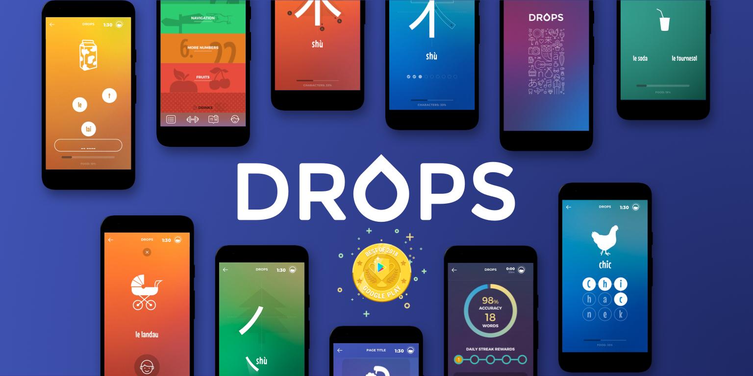 Aonement de 1an l'application Drops pour 29.99€ (languagedrops.com)
