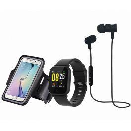 Pack Blaupaunkt : 1 montre connectée (écran couleur, tactile, rythme cardiaque) + écouteurs sport Bluetooth + brassard de smartphone