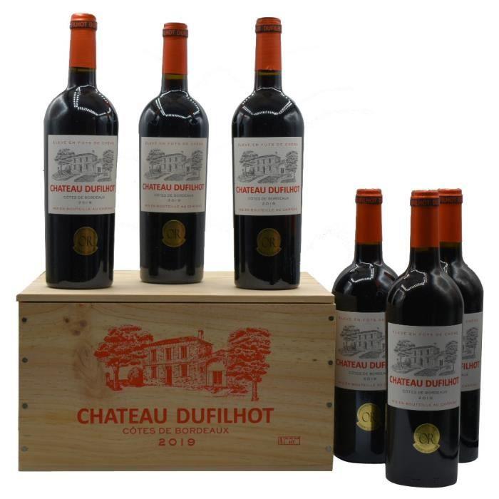 Caisse de 6 bouteilles de vin rouge Côtes de Bordeaux Château Dufilhot (2019)