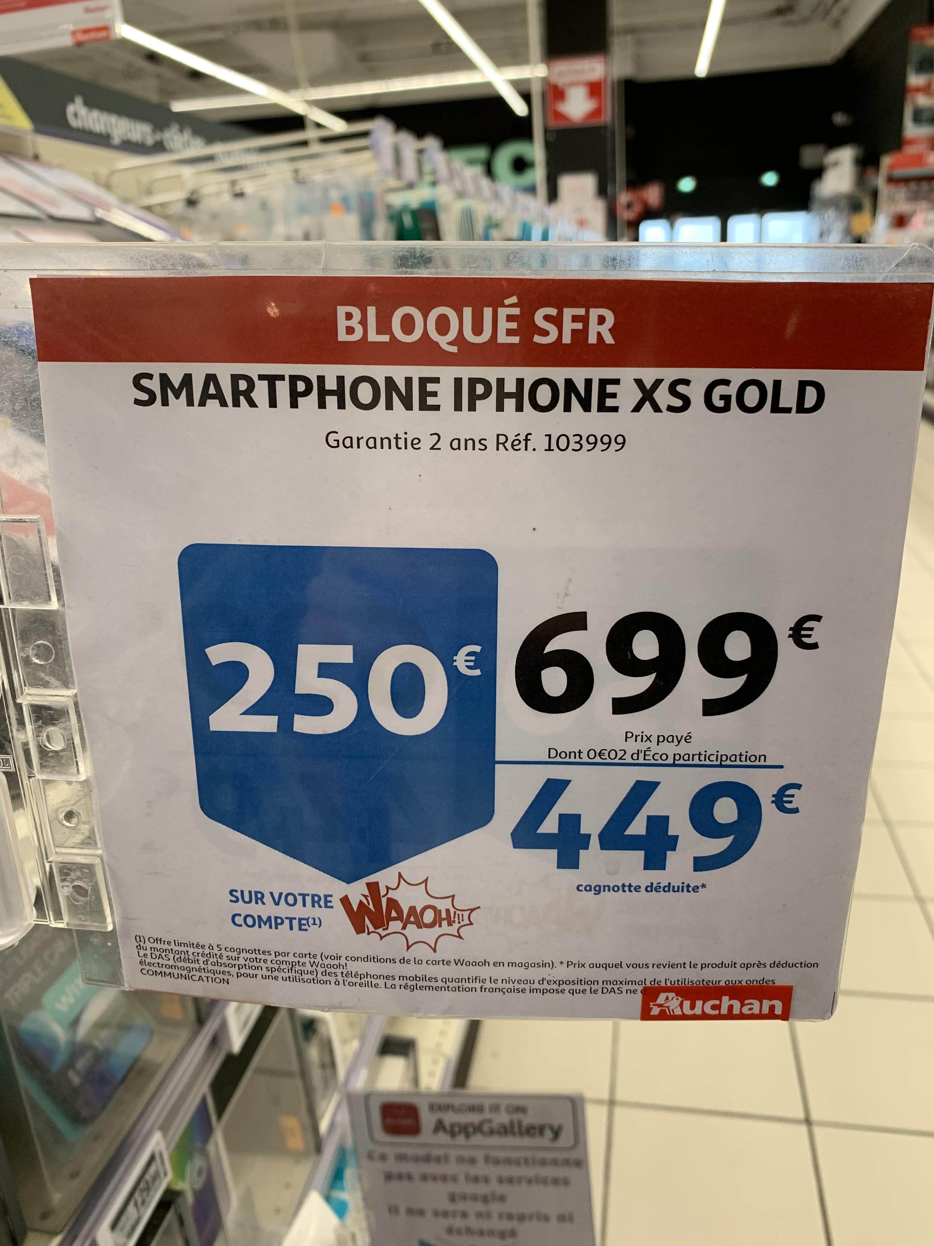"Smartphone 5.8"" Apple iPhone Xs - full HD+, A12, 4 Go de RAM, 64 Go, gold, bloqué SFR (via 250€ sur la carte de fidélité) - Montauban (82)"