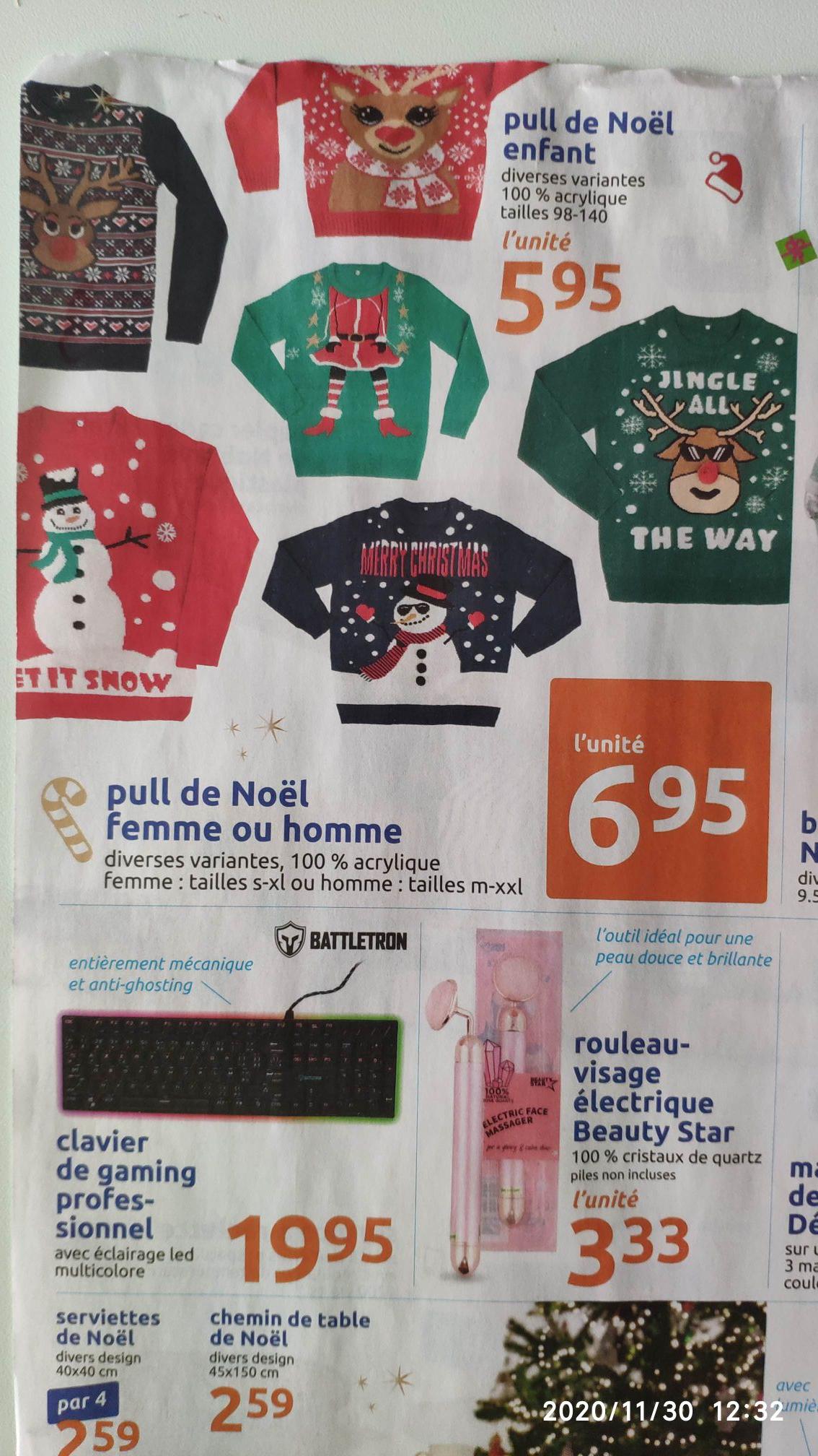 Pull de Noël enfants à 5€95 et adultes à 6€95