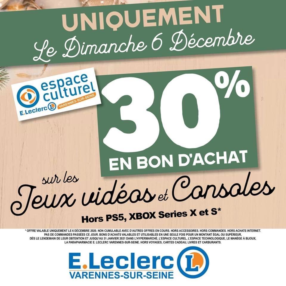 30% offerts en bon d'achat sur les Jeux vidéos et consoles - Varennes sur Seine (77)