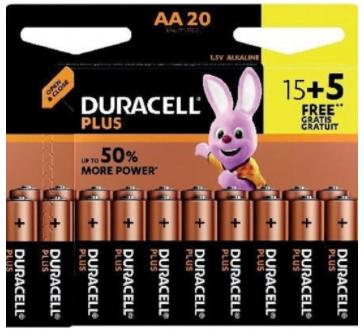 lot de 20 Piles Duracell Plus AA