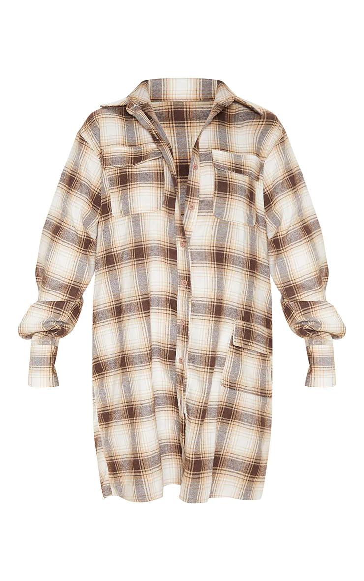 Robe chemise à carreaux et manches longues - Tailles 32 à 44