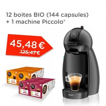 Pack machine à capsules Krups Nescafé Dolce Gusto Piccolo (YY4099FD) + 12 boîtes de capsules de café Nescafé Dolce Gusto Bio (144 capsules)