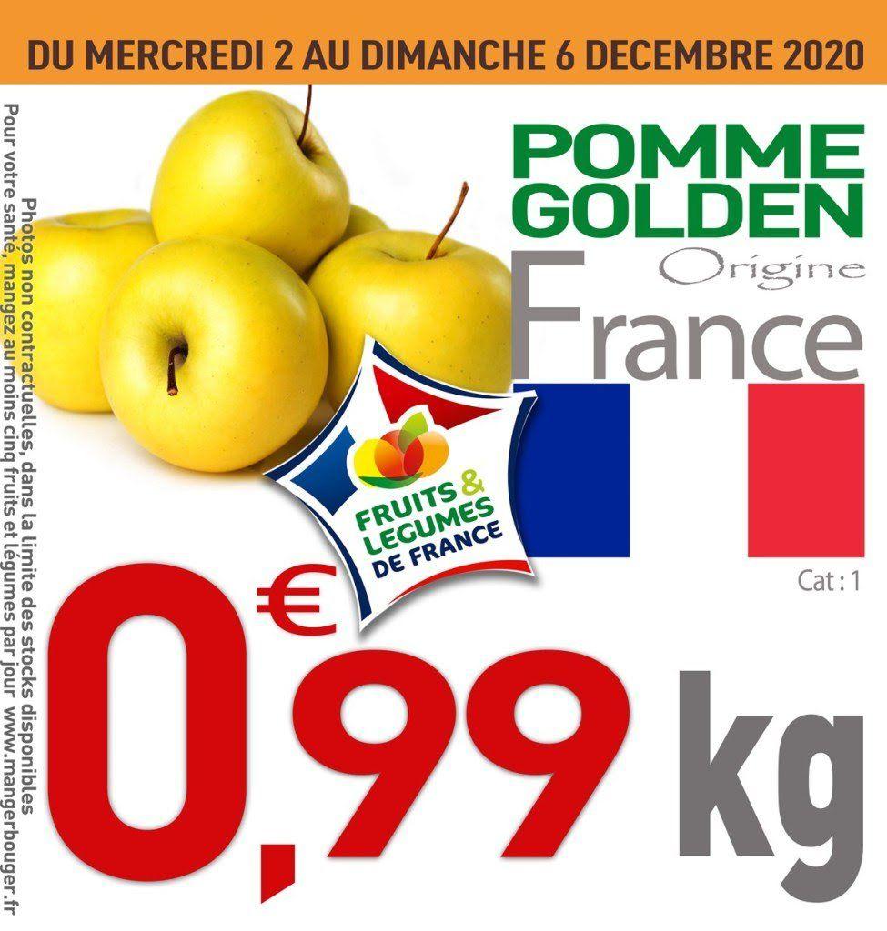 Pomme Golden, Catégorie 1 Origine France (le kilo) - Ile de France