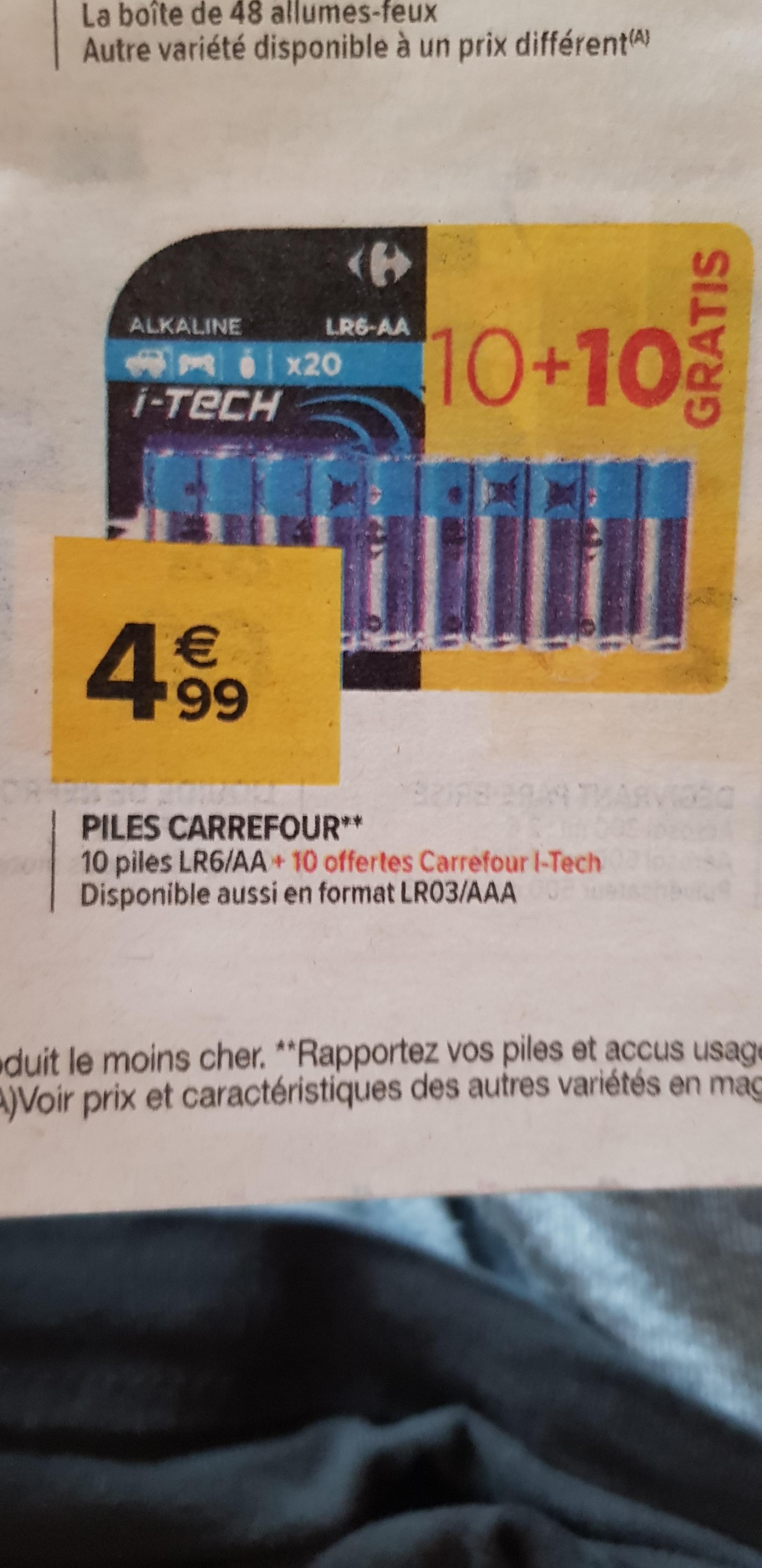 Lot de 20 Piles LR6 ou LR3 Carrefour i-Tech