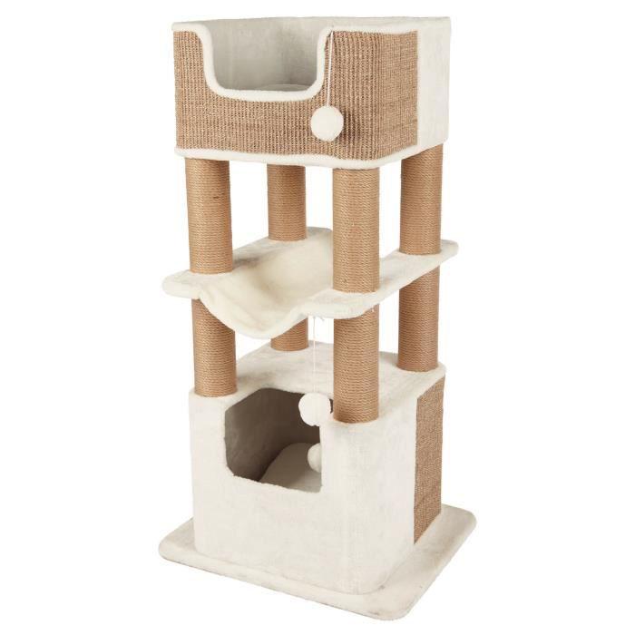 Arbre à chat Trixie Lucano - 110 cm, blanc/taupe