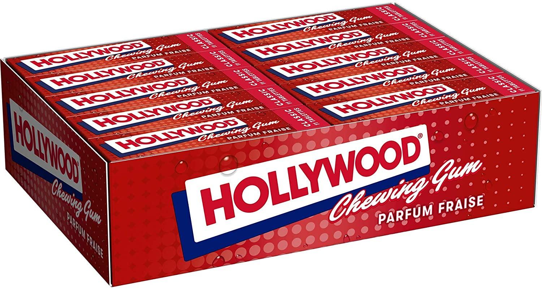 Lot de 20 paquets de 11 tablettes Hollywood Chewing-gum - Gout Fraise