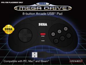 Manette filaire Retrobit Sega Mega Drive - 8 boutons, Connexion USB