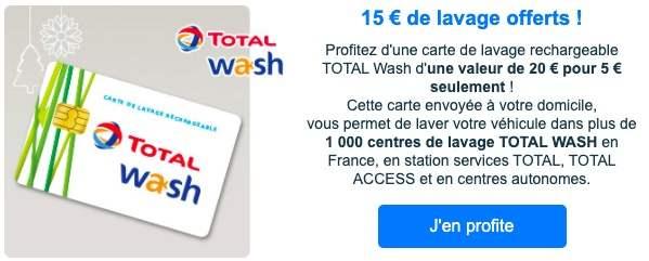 [Membre Identicar] Carte lavage Total wash de 20€ pour 5€