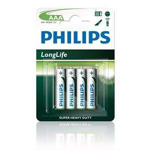 4 piles AAA Philips Longlife