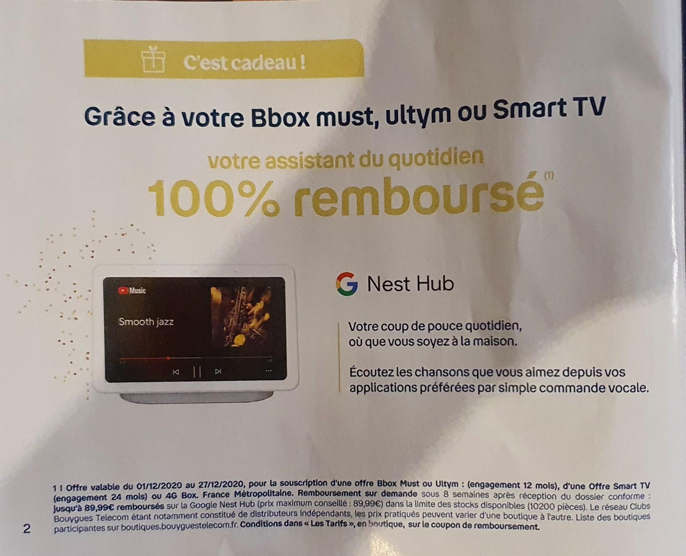 Google Nest Hub 100% remboursé pour toutes souscription à une offres Box parmi une sélection pendant 12 Mois (Engagement 12 Mois - Via ODR)
