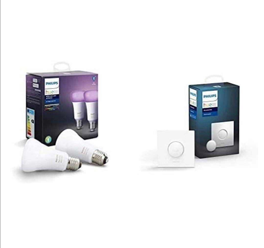 Pack de 2 Ampoules LED connectées Philips Hue White & Color E27 + Smart Button