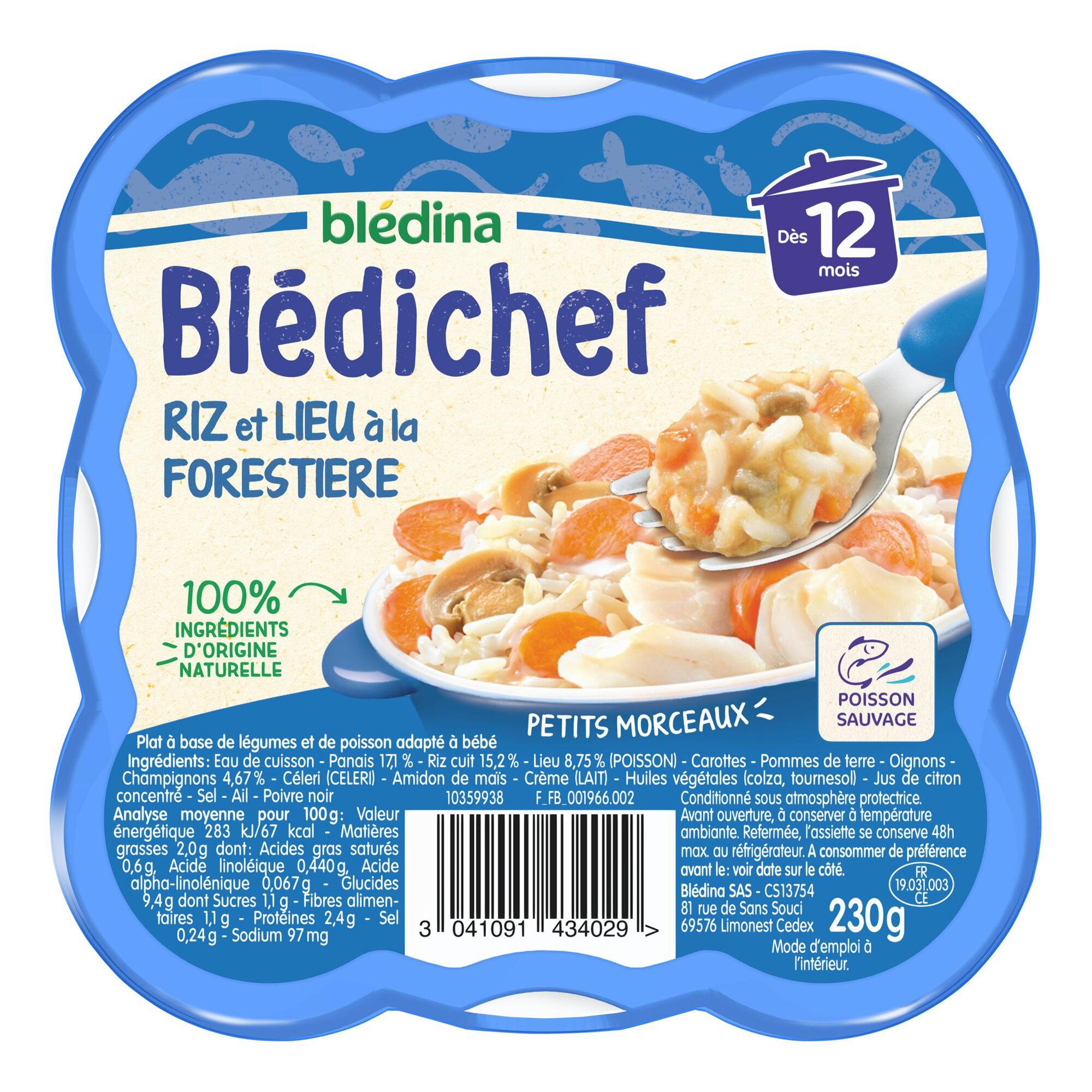 Pack de 9 barquettes de Blédichef - Riz et lieu à la forestières (9 x 230 g)