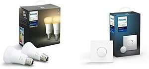 Pack de 2 Ampoules LED connectées Philips Hue White Ambiance E27 + Smart Button