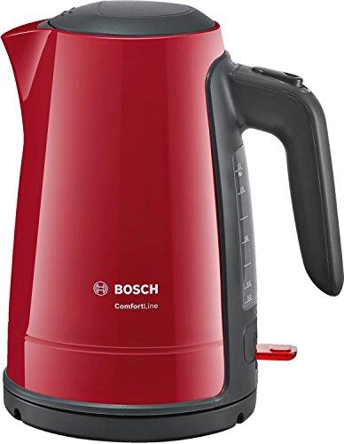 Bouilloire Bosch TWK6A014Comfort Line - Arrêt Automatiqueà Vapeur, 2400W, 1,7 L, Rouge/Anthracite