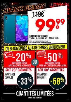 """Smartphone 5.71"""" Huawei Y5 2019 - 16Go (via 20€ sur la carte et Cmax Extra, 39.99€ pour les porteurs de la Carte Bancaire Casino)"""