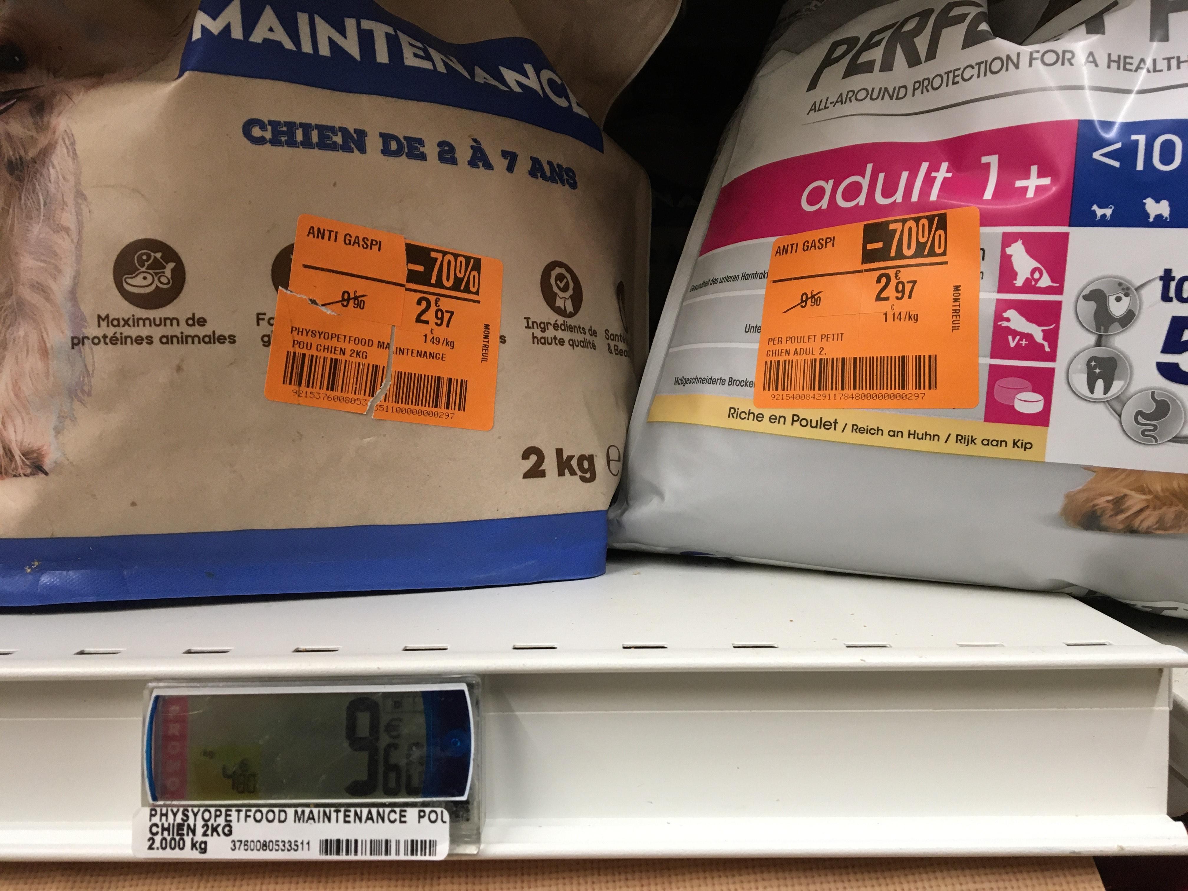 70% de réduction sur une sélection de produits anti-gaspi - Ex : sachet croquettes PhysyoPetFood Maintenance Poulet (2 kg) - Montreuil (93)