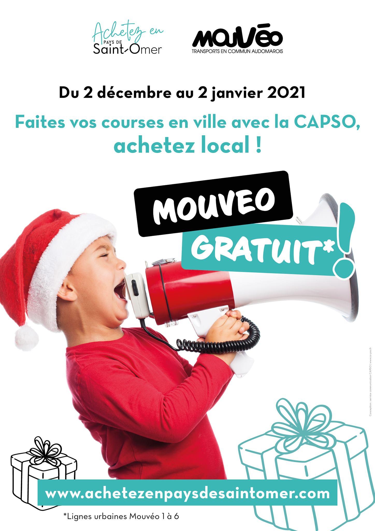 Gratuité des lignes urbaines Mouvéo - Capso (62)