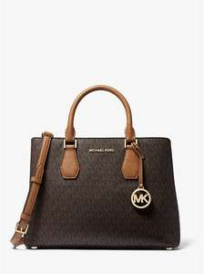 Sac Michael Kors Camille Large Logo and Leather Satchel