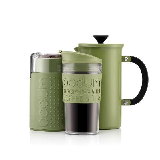Pack Bodum Tribute Set - Cafetière à piston 8 tasses (1.0l) + Mug de voyage + Moulin à café (Plusieurs coloris)